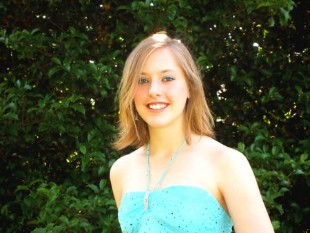 Teen girl in dress ready for the prom or dance. Stock Photo