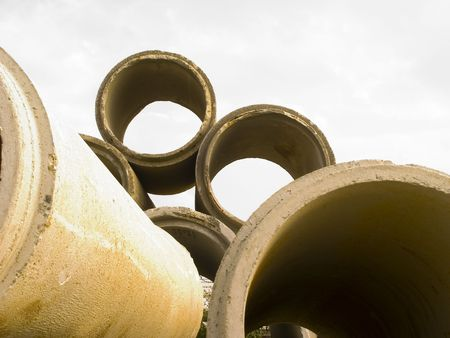 Concrete conduit or pipes for water or drainage. Stock Photo - 551811