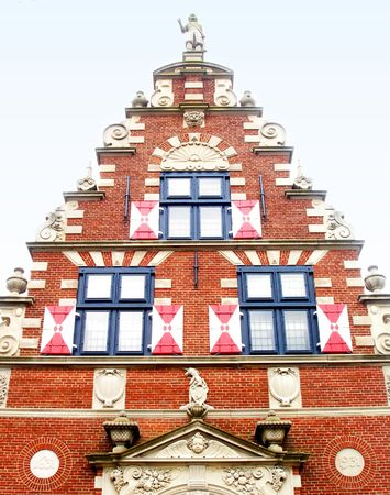Ornate frontof the Zwaanendael Museum in Lewes, Delaware.