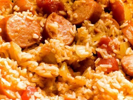 Creole-style smoked sausage jambalaya with tomatoes, onions, peppers, and rice Stock Photo - 589017