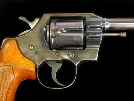 Official police .38 special revolver with checkered wood grip on a black background.