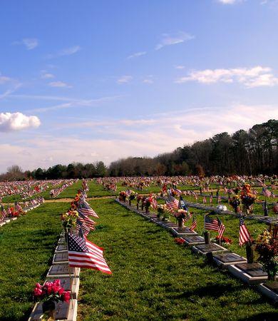 Flag and graves at the Delaware Veterans Memorial Cemetary in Delaware.
