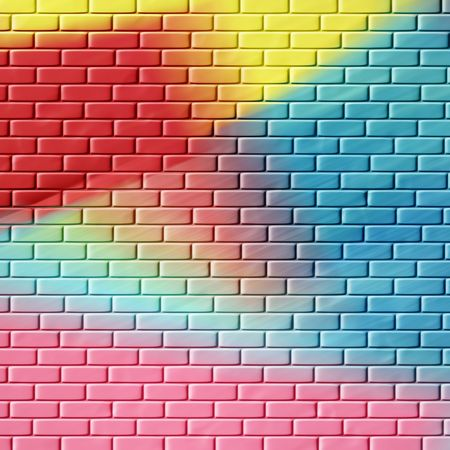 variegated: Colorful brick wall patterned abstract image for backgrounds or wallpaper. Stock Photo