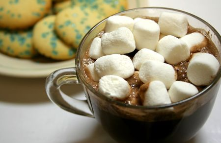 A cup of hot chocolate with marshmellows and a plate of cookies.