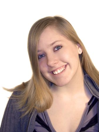 Smiling teen girl on a white background. photo