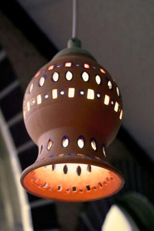 Hanging light fixture at a Mexican restaurant. Stock fotó