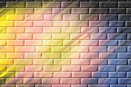 variegated: Spring colored brick patterned abstract image for backgrounds or wallpaper. Stock Photo