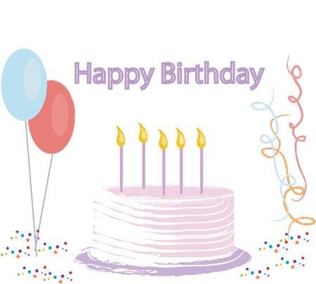 Vector illustratie van een verjaardagstaart, banner, ballonnen, confetti en streamers.
