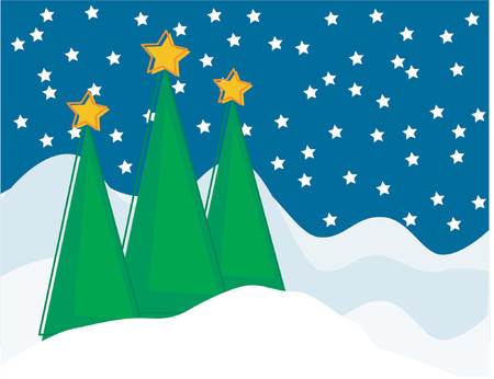 A snowy Christmas tree scene at night with very angular trees. Vector