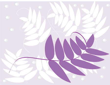 A vector image of a purple fern-style leaf with a white leaf and lavender background. Çizim