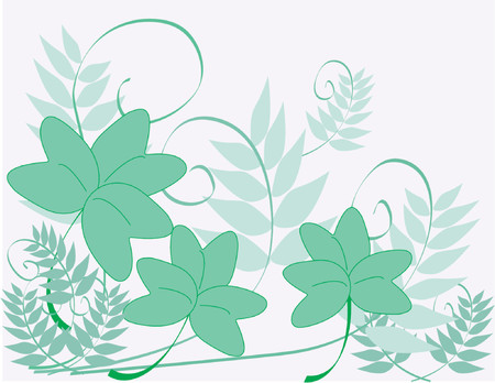 An illustration of green shamrocks and fern-like vines on a pale pink background. Vector