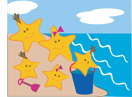 Cartoon style scene of a starfish family at the beach. Stock Vector - 791535