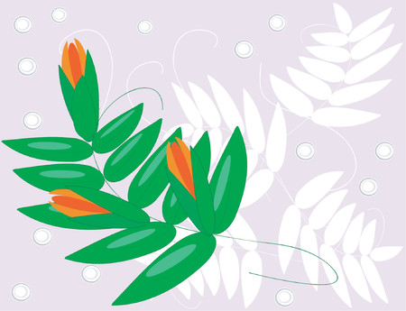 A vector image or orange flowers on a green leafed vine. Stock Vector - 791536