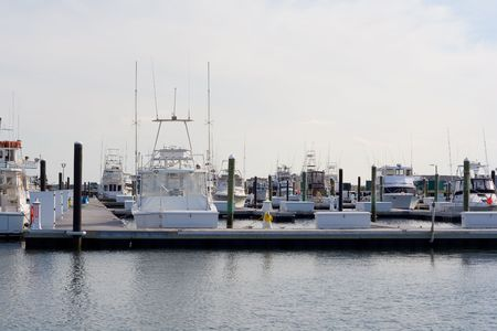 Sport boats at the Indian River Inlet Marina in Delaware.