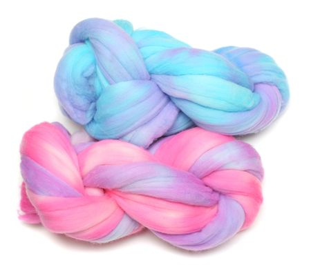 roving: Two Hand Dyed Merino Wool Rovings Ready For Hand Spinning Stock Photo