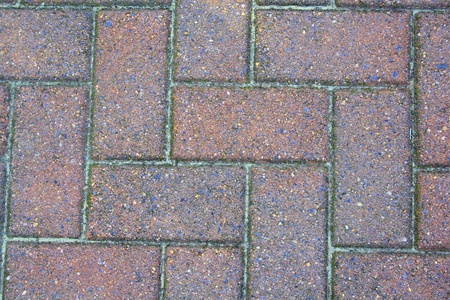 Photograph of a neatly laid brick sidewalk that can be used for a background with many possibilities for altering for different applications.