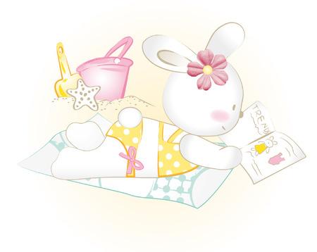 Baby bunny girl to sunbathe Vector
