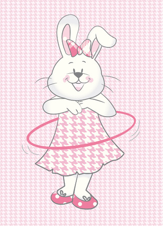 Baby Rabbit girl with hullahoop Vector