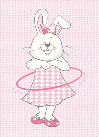 Baby Rabbit girl with hullahoop Vector
