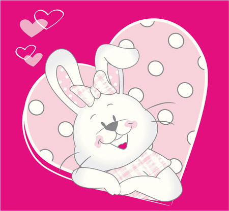 Cute Rabbit Baby girl in pink heart Vector