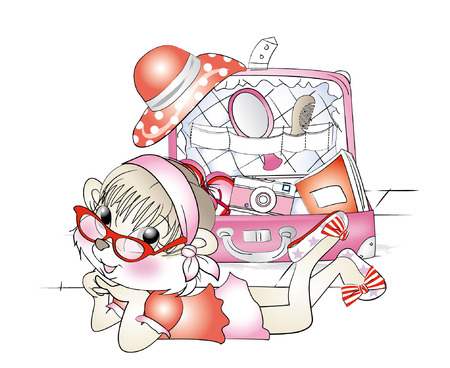 packing suitcase: scoiattolo ragazza imballaggio vacanza valigia Vettoriali