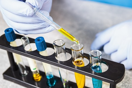 Laboratory assistant chemical analysis. Chemical laboratory. Stock Photo