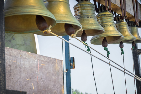 Set of church bells against the blue sky Stock Photo