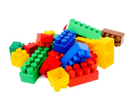 plastic bricks: Colourful plastic bricks on white background Stock Photo
