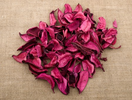 potpourri: Pink potpourri  on linen background