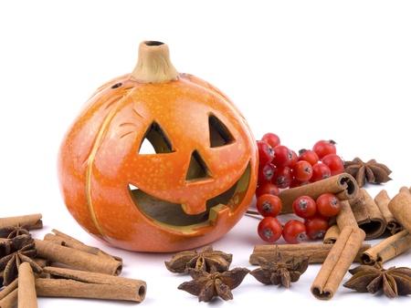 Hallowen pumpkin lantern on white background Stock Photo - 8481651