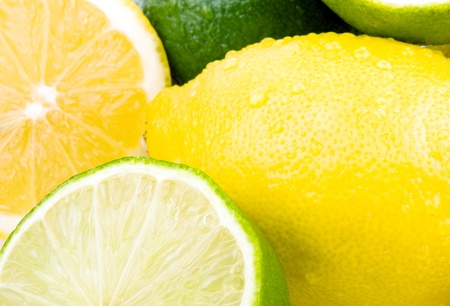 Closeup picture of lemon and lime  photo
