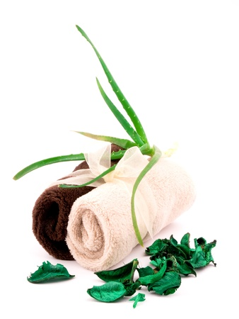 tratment: Two soft towels and fresh aloe on white background