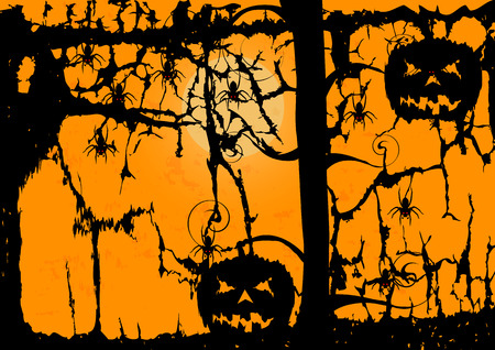 Pumpkins spiders and dark tree on the orange Halloween background Vector