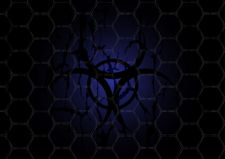 biohazard dark blue symbol is behind mesh metal Vector