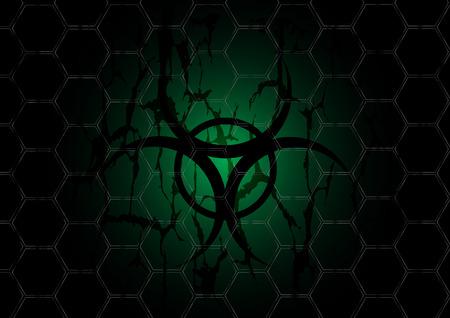 biohazard dark green symbol is behind mesh metal