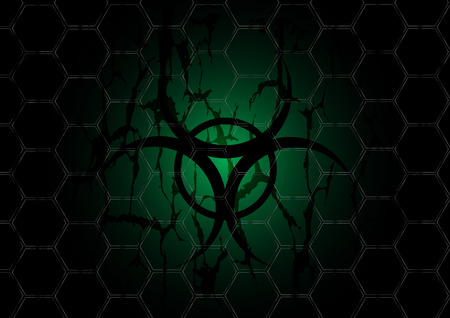 biohazard dark green symbol is behind mesh metal Vector