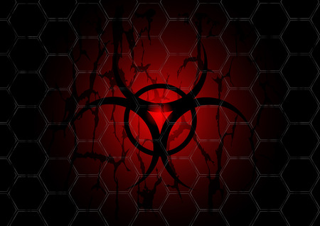 biohazard dark red symbol is behind mesh metal Vector