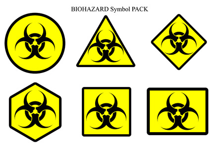 germ warfare: Biohazard symbol label pack isolate