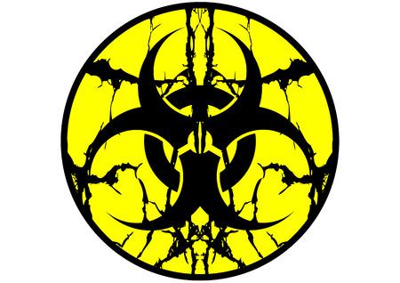 germ warfare: Biohazard symbol label spit up isolate