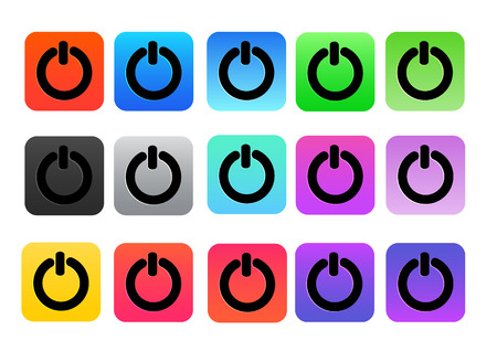 two tone: power button two tone color  pack black line isolated