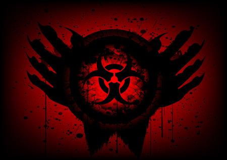 biohazard symbol: biohazard symbol on circle and hand blood drop background