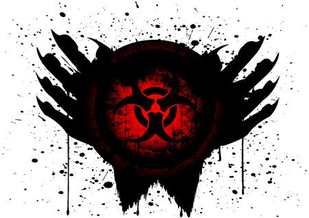 biohazard symbol: biohazard symbol on circle and hand blood drop isolate Illustration