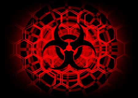 biohazard symbol on circle technology abstract background Vector