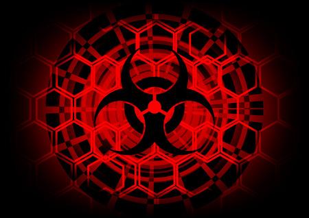 biohazard symbol: biohazard symbol on circle technology abstract background