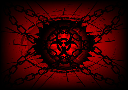 biohazard symbol on  cross chain background