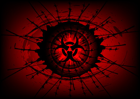 biohazard symbol: biohazard symbol on Surrounded by barbed wire background