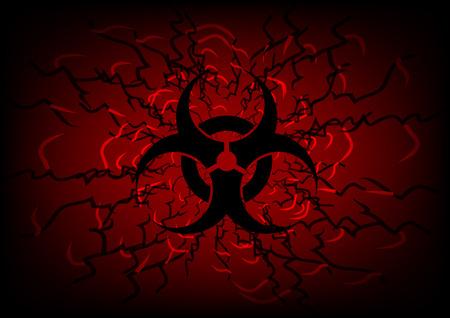 biohazard symbol: biohazard symbol and line on dark red  abstract background
