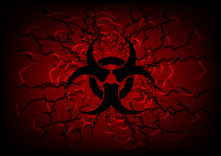 biohazard symbol and line on dark red  abstract background