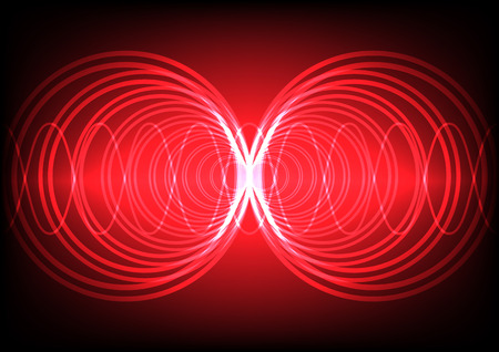 multi circle wave surround on red color background Illustration
