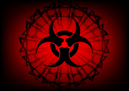 poison symbol: biohazard symbol and  barbed wire on red background